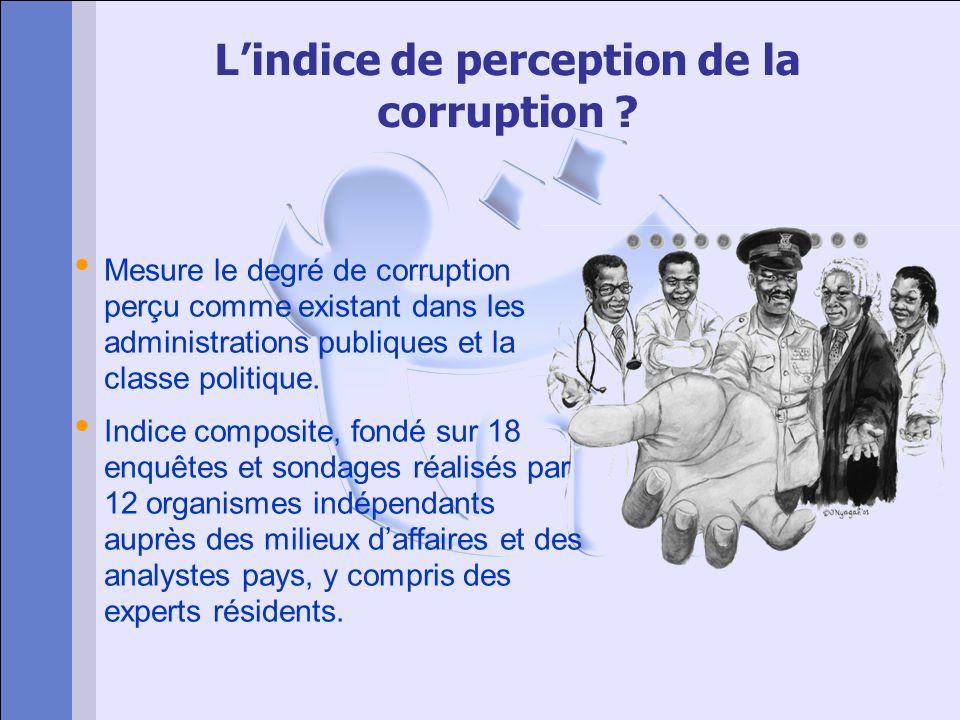 Quoi : Létendue de la corruption Mesure auprès dobservateurs expérimentés (Hommes daffaires, chercheurs, analystes du risque) et à une période donnée, la perception de la corruption dans le secteur public.