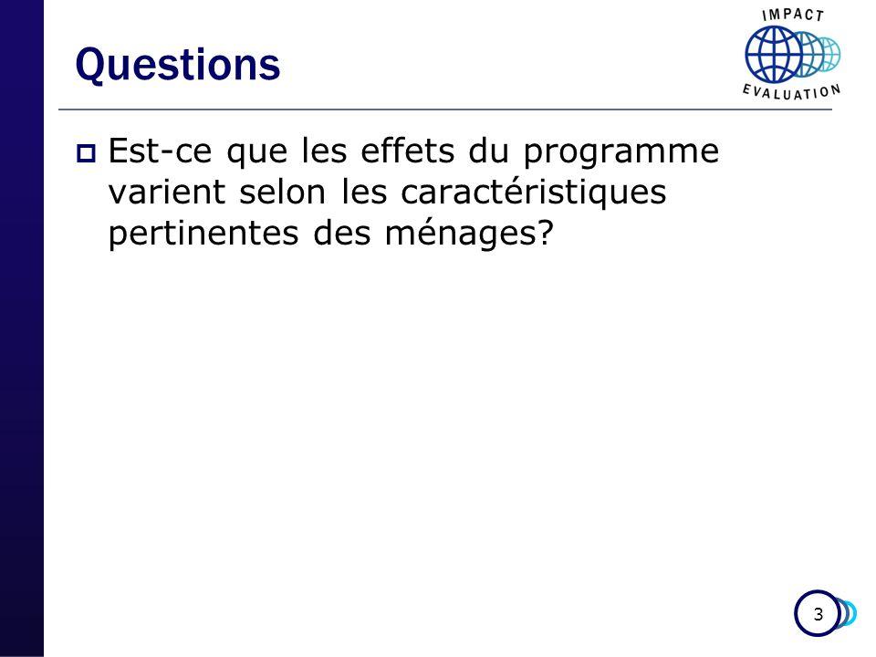 3 Questions Est-ce que les effets du programme varient selon les caractéristiques pertinentes des ménages