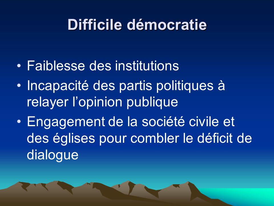 Difficile démocratie Faiblesse des institutions Incapacité des partis politiques à relayer lopinion publique Engagement de la société civile et des églises pour combler le déficit de dialogue