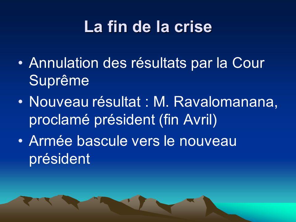La fin de la crise Annulation des résultats par la Cour Suprême Nouveau résultat : M.