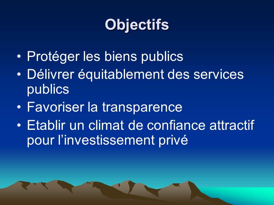 Objectifs Protéger les biens publics Délivrer équitablement des services publics Favoriser la transparence Etablir un climat de confiance attractif pour linvestissement privé