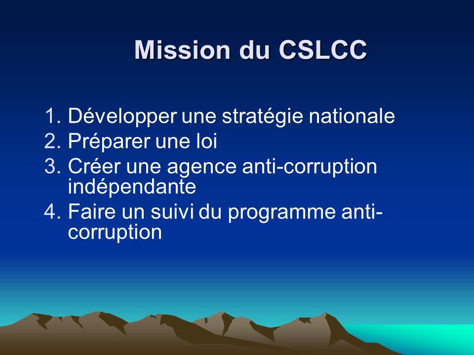 Mission du CSLCC 1.Développer une stratégie nationale 2.Préparer une loi 3.Créer une agence anti-corruption indépendante 4.Faire un suivi du programme anti- corruption
