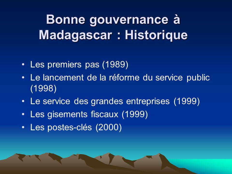 Bonne gouvernance à Madagascar : Historique Les premiers pas (1989) Le lancement de la réforme du service public (1998) Le service des grandes entreprises (1999) Les gisements fiscaux (1999) Les postes-clés (2000)