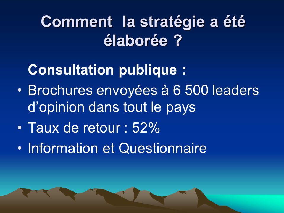 Consultation publique : Brochures envoyées à 6 500 leaders dopinion dans tout le pays Taux de retour : 52% Information et Questionnaire Comment la stratégie a été élaborée ?