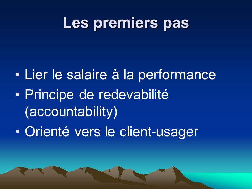 Les premiers pas Lier le salaire à la performance Principe de redevabilité (accountability) Orienté vers le client-usager