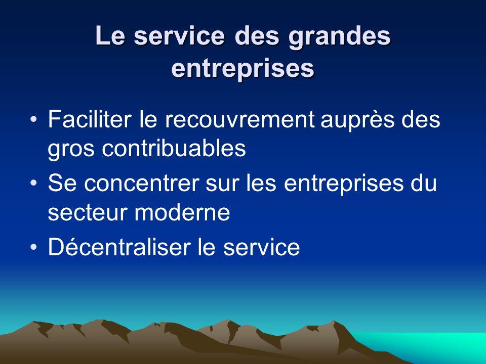 Le service des grandes entreprises Faciliter le recouvrement auprès des gros contribuables Se concentrer sur les entreprises du secteur moderne Décentraliser le service
