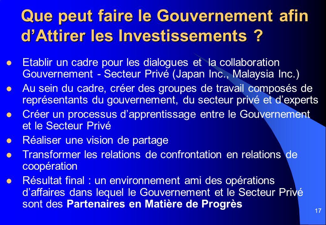 17 Que peut faire le Gouvernement afin dAttirer les Investissements ? Etablir un cadre pour les dialogues et la collaboration Gouvernement - Secteur P