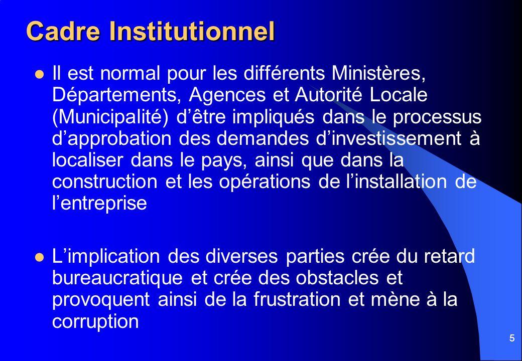 5 Cadre Institutionnel Il est normal pour les différents Ministères, Départements, Agences et Autorité Locale (Municipalité) dêtre impliqués dans le p