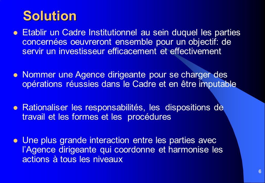 6 Solution Etablir un Cadre Institutionnel au sein duquel les parties concernées oeuvreront ensemble pour un objectif: de servir un investisseur effic