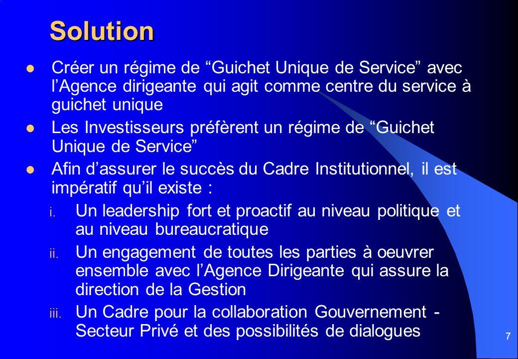 7 Solution Créer un régime de Guichet Unique de Service avec lAgence dirigeante qui agit comme centre du service à guichet unique Les Investisseurs pr
