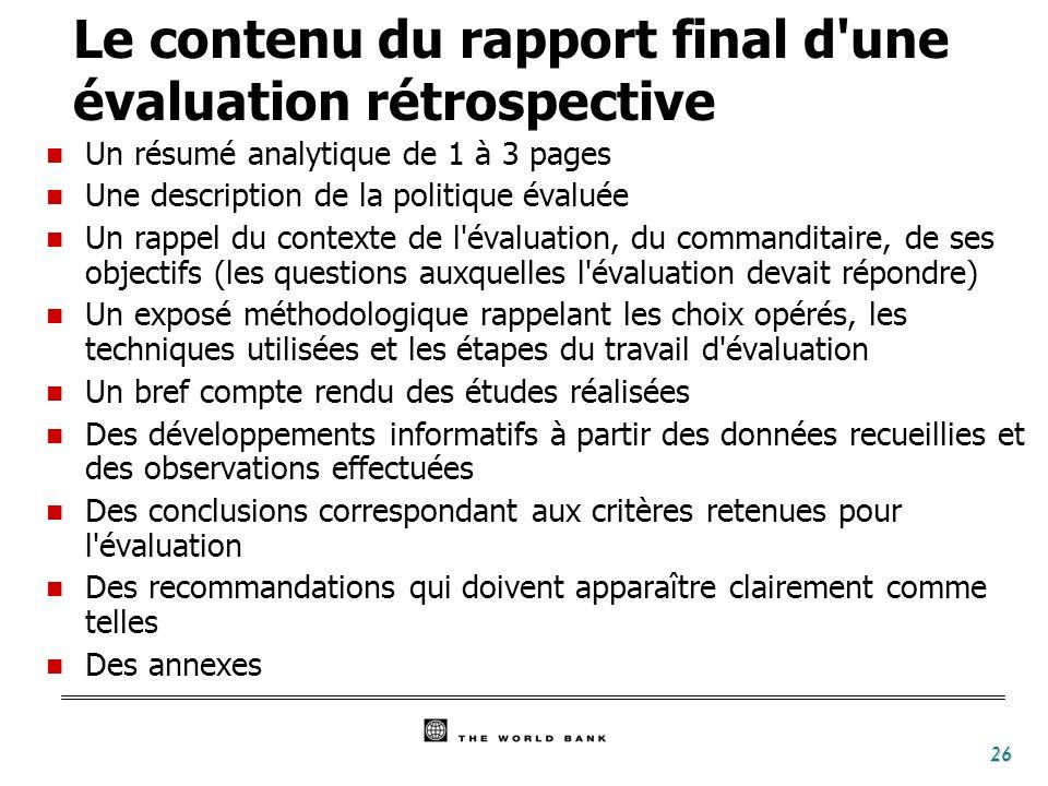 27 1- Niveau de réponse à la demande (par référence aux questions posées à l origine dans les termes de référence) 2- Pertinence du champ couvert 3- Indépendance/pluralisme de l équipe d évaluation 4- Adéquation méthodologique 5- Fiabilité des données utilisées 6- Solidité des analyses 7- Crédibilité des conclusions 8- Clarté du rapport (ou de la présentation) Excellent Bon AcceptableInacceptable Attention :la note générale n est pas la moyenne des notes mais correspond à la plus mauvaise note obtenue pour l un quelconque des 8 points ci-dessus.