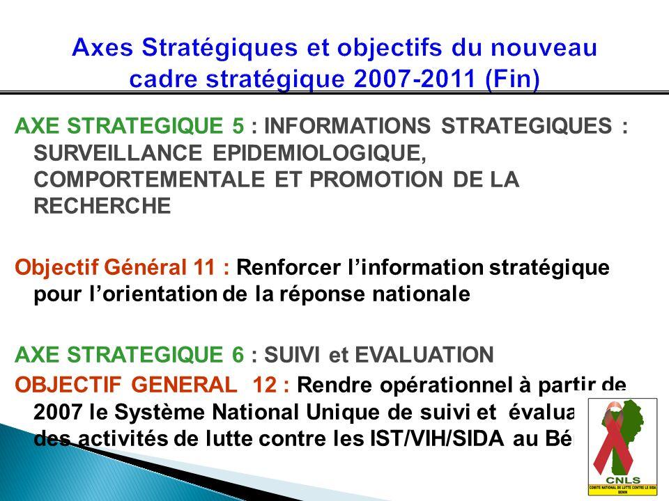 AXE STRATEGIQUE 5 : INFORMATIONS STRATEGIQUES : SURVEILLANCE EPIDEMIOLOGIQUE, COMPORTEMENTALE ET PROMOTION DE LA RECHERCHE Objectif Général 11 : Renfo