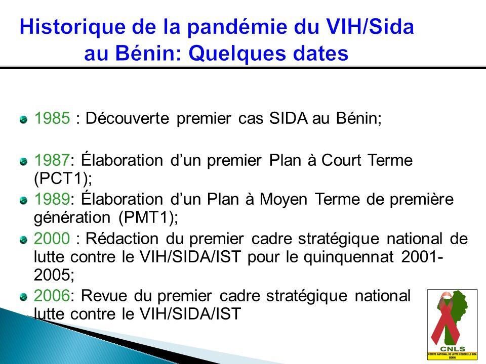 1985 : Découverte premier cas SIDA au Bénin; 1987: Élaboration dun premier Plan à Court Terme (PCT1); 1989: Élaboration dun Plan à Moyen Terme de prem