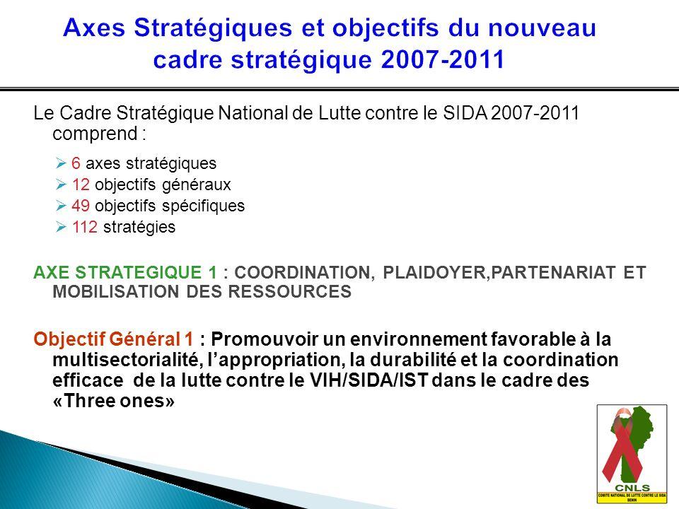 Le Cadre Stratégique National de Lutte contre le SIDA 2007-2011 comprend : 6 axes stratégiques 12 objectifs généraux 49 objectifs spécifiques 112 stra