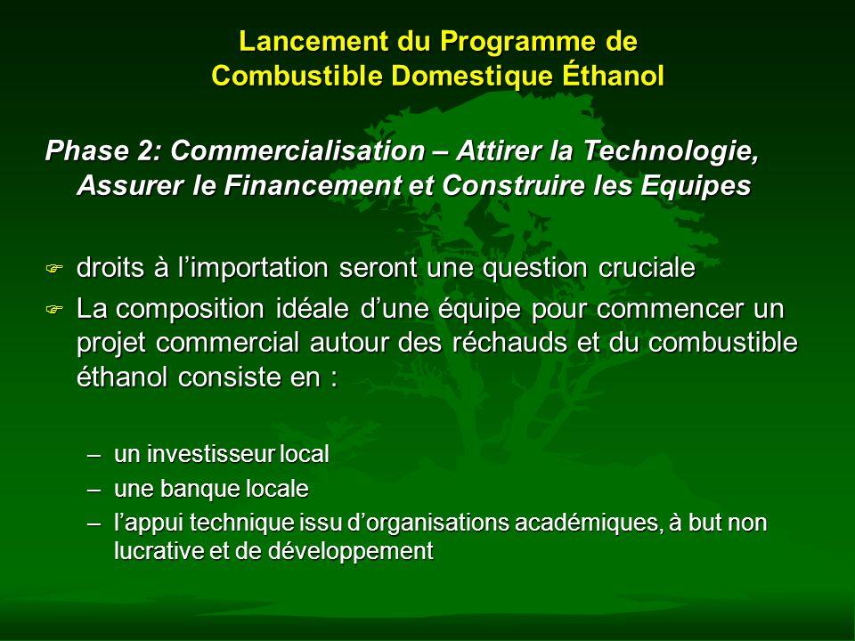 Lancement du Programme de Combustible Domestique Éthanol Phase 2: Commercialisation – Attirer la Technologie, Assurer le Financement et Construire les
