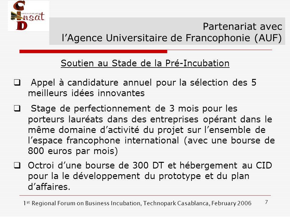7 Partenariat avec lAgence Universitaire de Francophonie (AUF) Soutien au Stade de la Pré-Incubation Appel à candidature annuel pour la sélection des