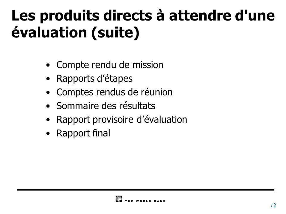 12 Les produits directs à attendre d'une évaluation (suite) Compte rendu de mission Rapports détapes Comptes rendus de réunion Sommaire des résultats