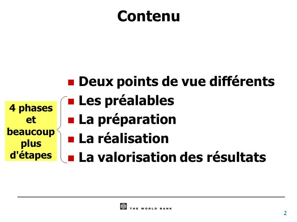 2 Contenu n Deux points de vue différents n Les préalables n La préparation n La réalisation n La valorisation des résultats 4 phases et beaucoup plus