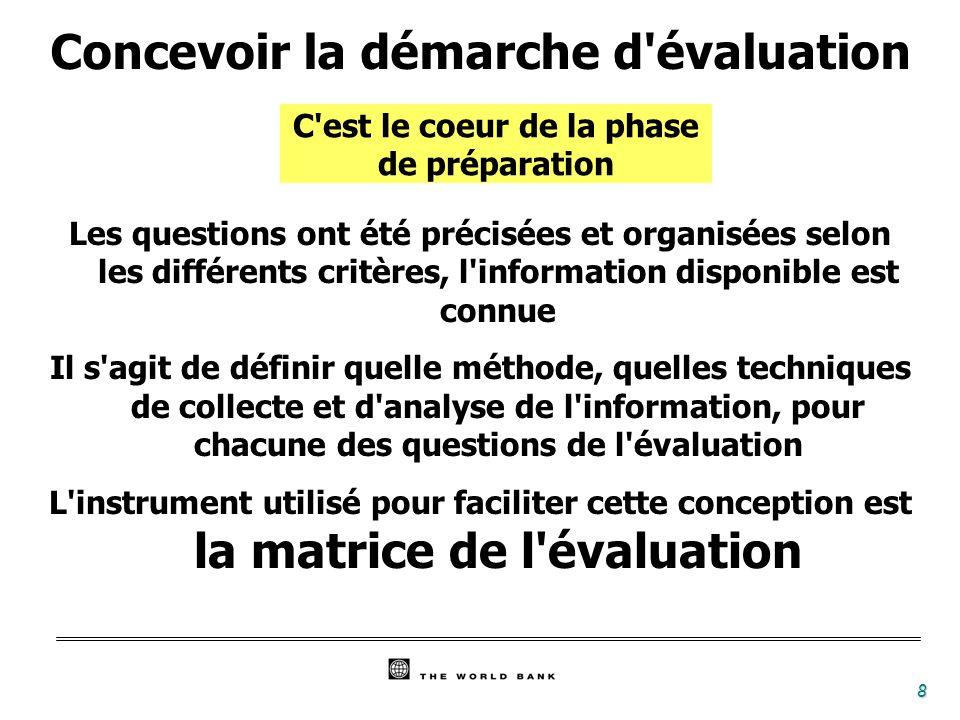 8 C'est le coeur de la phase de préparation Concevoir la démarche d'évaluation Les questions ont été précisées et organisées selon les différents crit