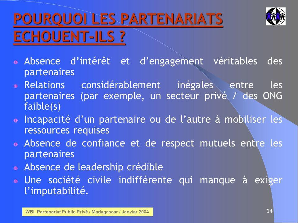 WBI_Partenariat Public Privé / Madagascar / Janvier 2004 14 POURQUOI LES PARTENARIATS ECHOUENT-ILS .