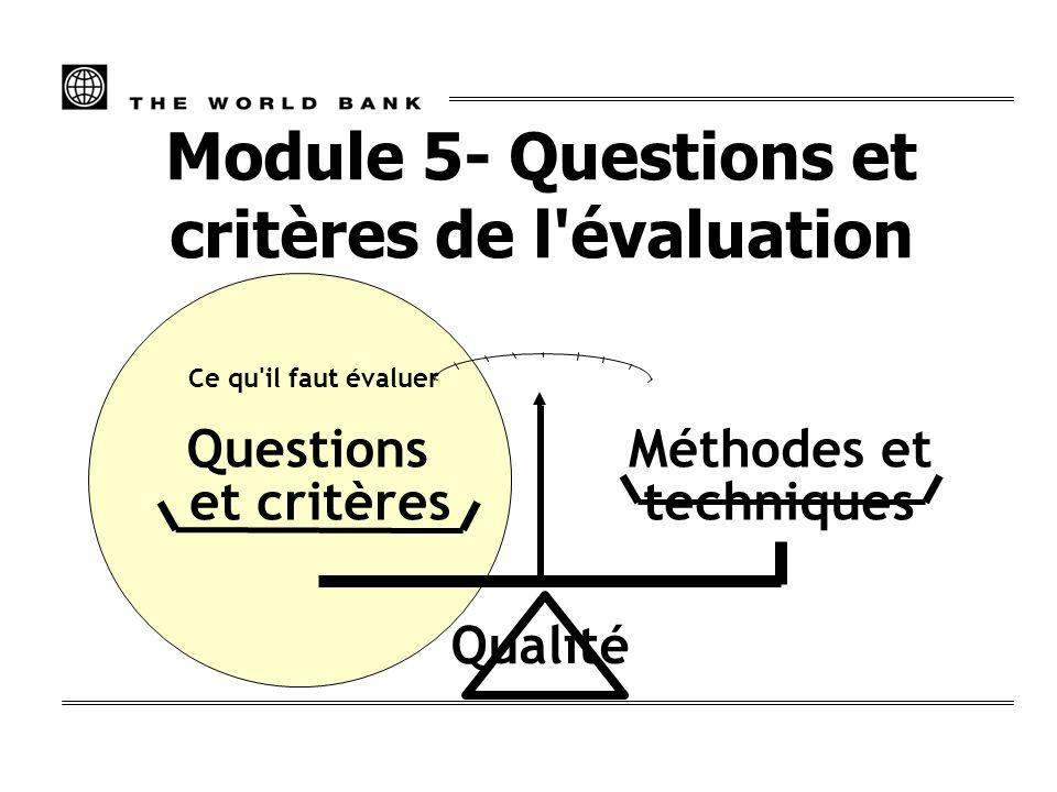 Questions et critères Ce qu'il faut évaluer Méthodes et techniques Qualité Module 5- Questions et critères de l'évaluation