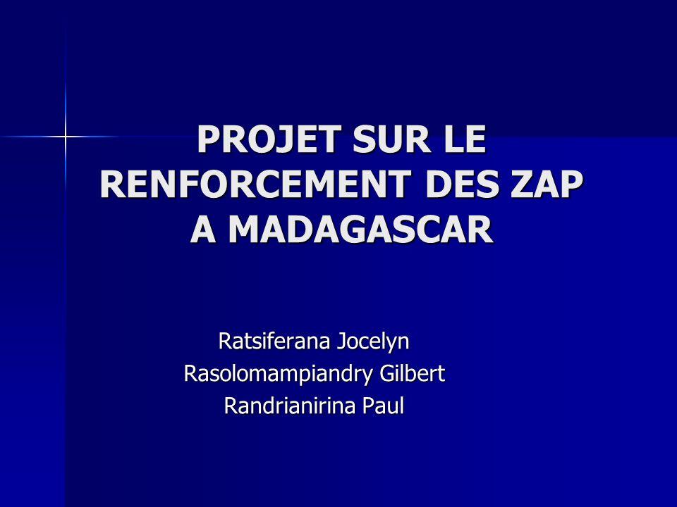 PROJET SUR LE RENFORCEMENT DES ZAP A MADAGASCAR Ratsiferana Jocelyn Rasolomampiandry Gilbert Randrianirina Paul