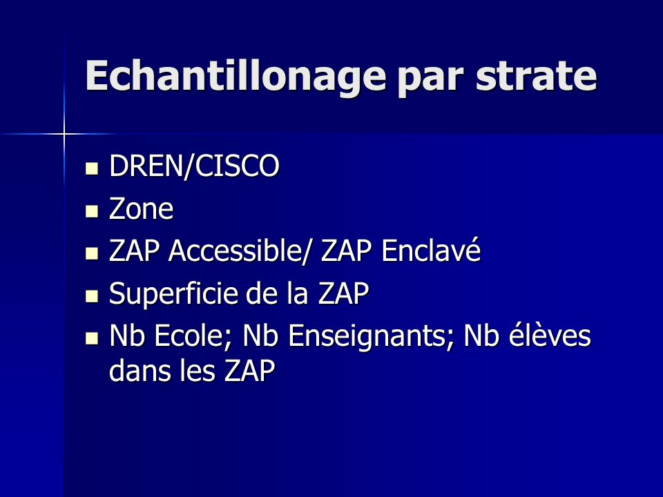 Echantillonage par strate DREN/CISCO DREN/CISCO Zone Zone ZAP Accessible/ ZAP Enclavé ZAP Accessible/ ZAP Enclavé Superficie de la ZAP Superficie de la ZAP Nb Ecole; Nb Enseignants; Nb élèves dans les ZAP Nb Ecole; Nb Enseignants; Nb élèves dans les ZAP