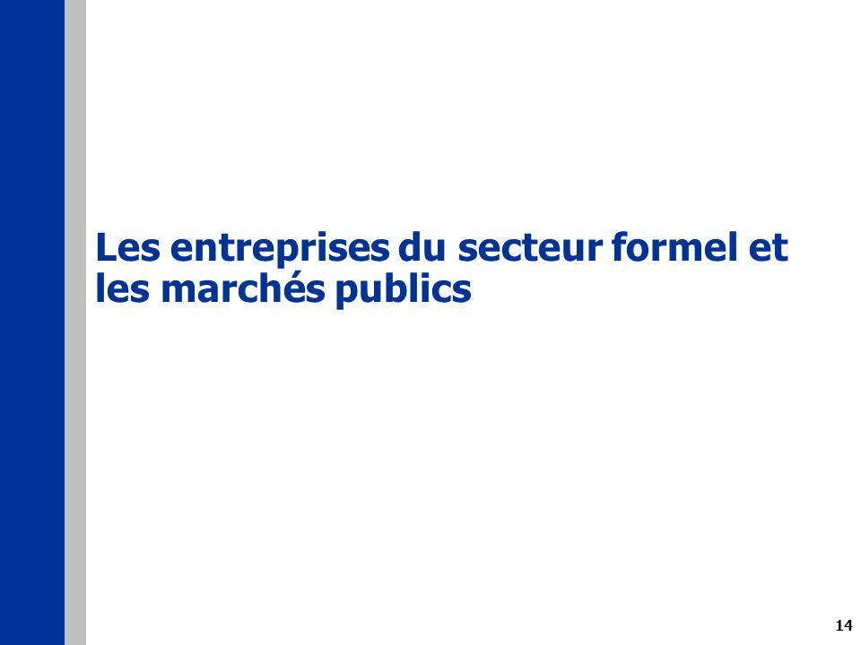 14 Les entreprises du secteur formel et les marchés publics