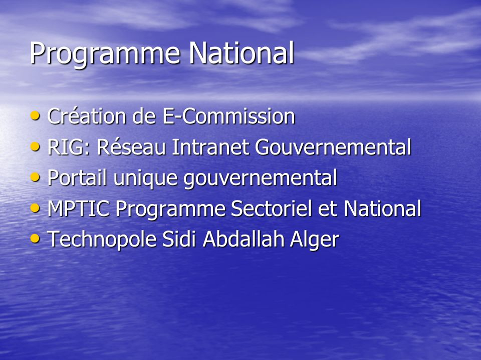 Technopole Sidi Abdallah Alger Centre de Développement et Recherche Centre de Développement et Recherche Contenu et Logiciels Contenu et Logiciels PCs et Accessoires PCs et Accessoires Formation en TICs Formation en TICs