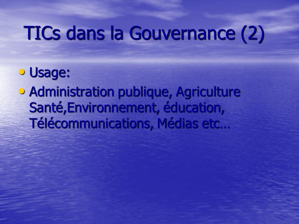 TICs dans la Gouvernance (3) Objectifs: Objectifs: Démocratisation des sociétés et systèmes politiques.