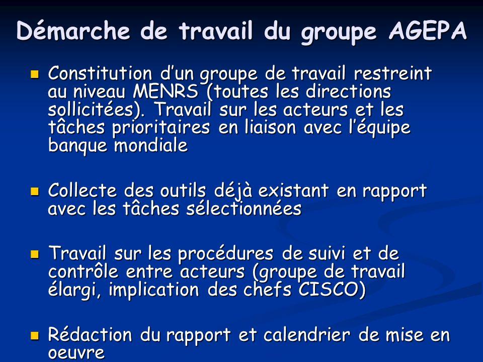 Démarche de travail du groupe AGEPA Constitution dun groupe de travail restreint au niveau MENRS (toutes les directions sollicitées).