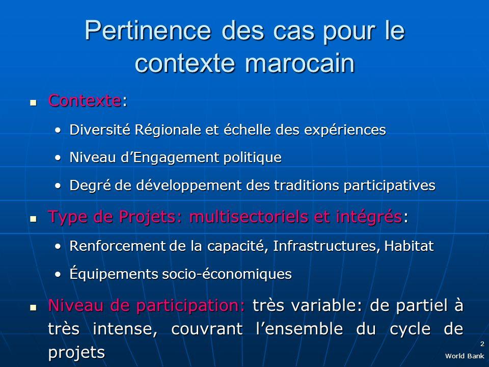 2 World Bank Pertinence des cas pour le contexte marocain Contexte: Contexte: Diversité Régionale et échelle des expériencesDiversité Régionale et échelle des expériences Niveau dEngagement politiqueNiveau dEngagement politique Degré de développement des traditions participativesDegré de développement des traditions participatives Type de Projets: multisectoriels et intégrés: Type de Projets: multisectoriels et intégrés: Renforcement de la capacité, Infrastructures, HabitatRenforcement de la capacité, Infrastructures, Habitat Équipements socio-économiquesÉquipements socio-économiques Niveau de participation: très variable: de partiel à très intense, couvrant lensemble du cycle de projets Niveau de participation: très variable: de partiel à très intense, couvrant lensemble du cycle de projets