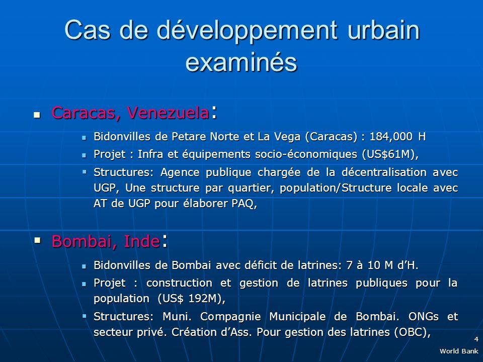 4 World Bank Cas de développement urbain examinés Caracas, Venezuela : Caracas, Venezuela : Bidonvilles de Petare Norte et La Vega (Caracas) : 184,000 H Bidonvilles de Petare Norte et La Vega (Caracas) : 184,000 H Projet : Infra et équipements socio-économiques (US$61M), Projet : Infra et équipements socio-économiques (US$61M), Structures: Agence publique chargée de la décentralisation avec UGP, Une structure par quartier, population/Structure locale avec AT de UGP pour élaborer PAQ, Structures: Agence publique chargée de la décentralisation avec UGP, Une structure par quartier, population/Structure locale avec AT de UGP pour élaborer PAQ, Bombai, Inde : Bombai, Inde : Bidonvilles de Bombai avec déficit de latrines: 7 à 10 M dH.
