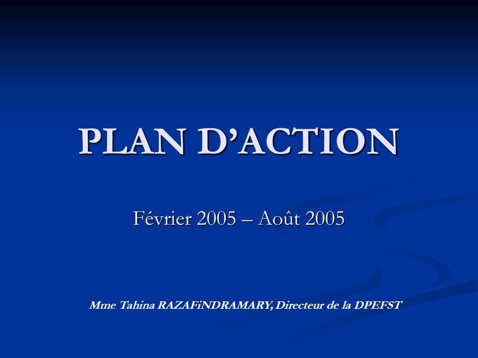 PLAN DACTION Février 2005 – Août 2005 Mme Tahina RAZAFiNDRAMARY, Directeur de la DPEFST