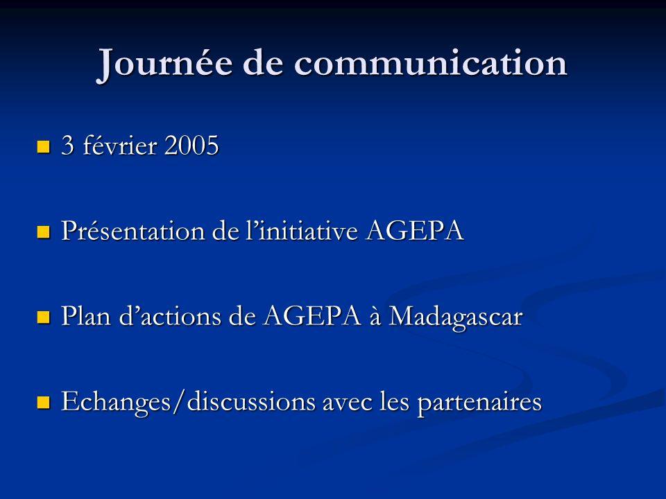 Journée de communication 3 février 2005 3 février 2005 Présentation de linitiative AGEPA Présentation de linitiative AGEPA Plan dactions de AGEPA à Madagascar Plan dactions de AGEPA à Madagascar Echanges/discussions avec les partenaires Echanges/discussions avec les partenaires
