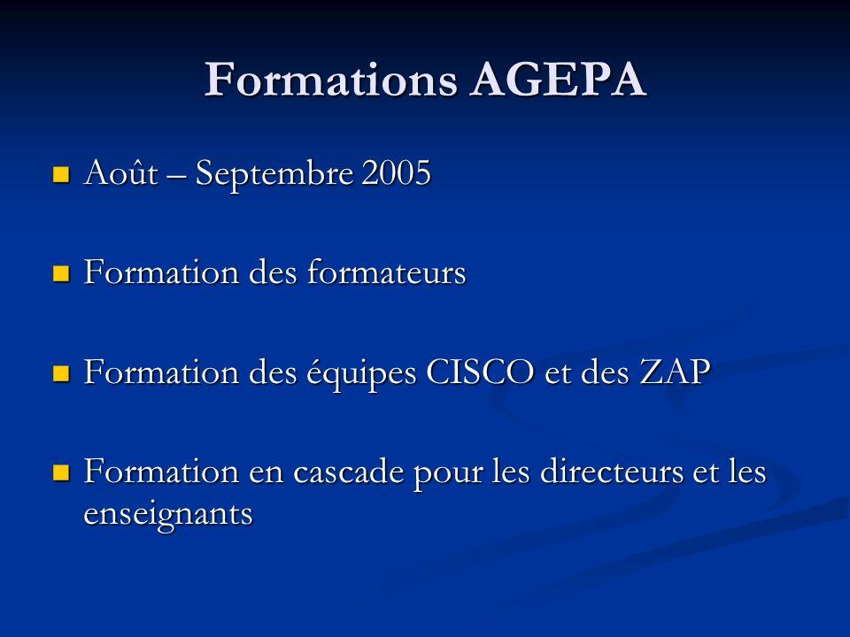 Formations AGEPA Août – Septembre 2005 Août – Septembre 2005 Formation des formateurs Formation des formateurs Formation des équipes CISCO et des ZAP Formation des équipes CISCO et des ZAP Formation en cascade pour les directeurs et les enseignants Formation en cascade pour les directeurs et les enseignants