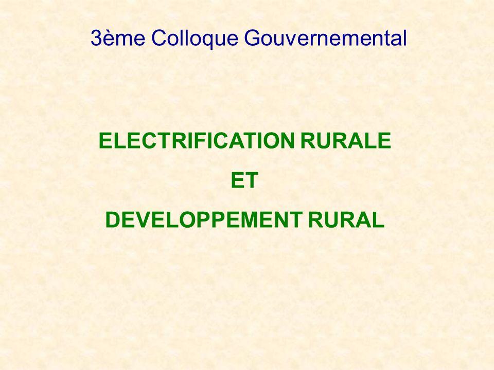 CONTEXTE Taux daccès à lélectricité en milieu rural : 3,9% en 2004 Frein à lamélioration de la productivité de la population rurale Manque à gagner : activités économiques des populations Obstacle à limplantation dindustries en milieu rural Accélération de lélectrification rurale : 8% en 2007 Réforme du secteur Électricité Libéralisation du secteur, cadre incitatif Restructuration : DEN, ORE, ADER Fonds National de lElectricité