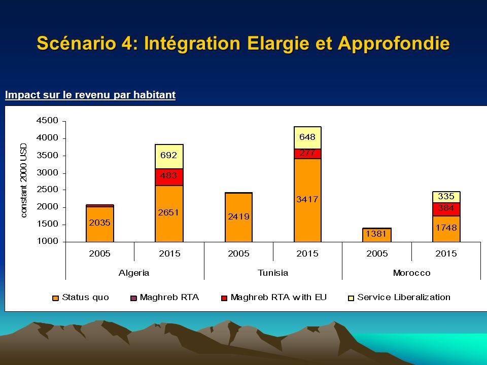 Scénario 4: Intégration Elargie et Approfondie Impact sur le revenu par habitant