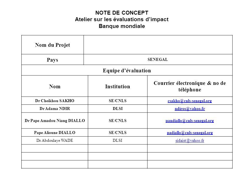 Nom du Projet Pays SENEGAL Equipe dévaluation NomInstitution Courrier électronique & no de téléphone Dr Cheikhou SAKHOSE/CNLScsakho@cnls-senegal.org Dr Adama NDIRDLSIndiros@yahoo.fr Dr Pape Amadou Niang DIALLOSE/CNLSpandiallo@cnls-senegal.org Pape Alioune DIALLOSE/CNLSpadiallo@cnls-senegal.org Dr Abdoulaye WADEDLSIsidaist@yahoo.fr NOTE DE CONCEPT Atelier sur les évaluations dimpact Banque mondiale
