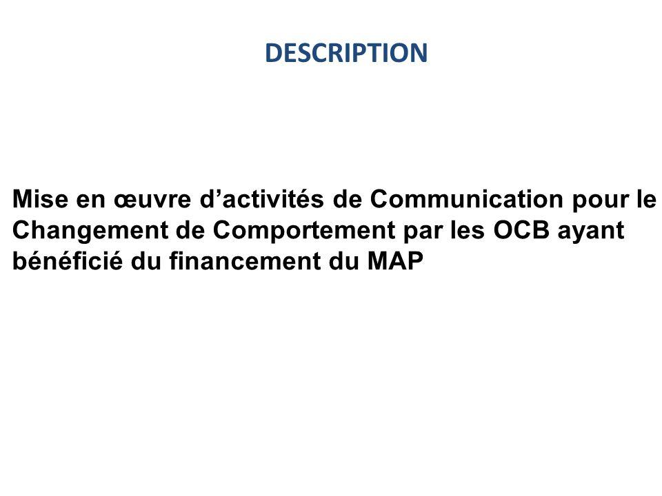 Mise en œuvre dactivités de Communication pour le Changement de Comportement par les OCB ayant bénéficié du financement du MAP DESCRIPTION