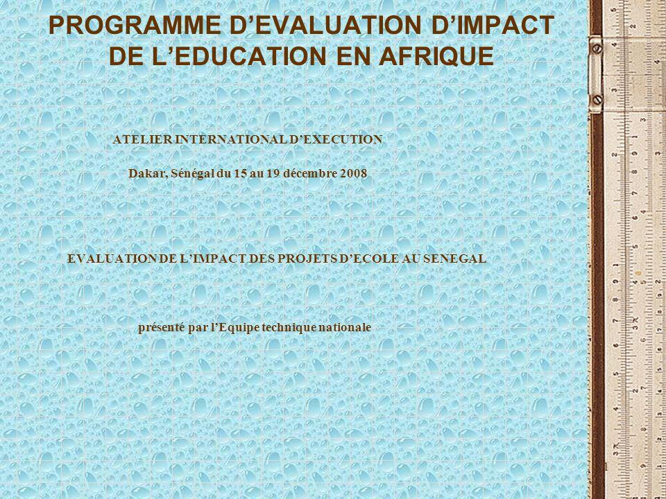 1 PROGRAMME DEVALUATION DIMPACT DE LEDUCATION EN AFRIQUE ATELIER INTERNATIONAL DEXECUTION Dakar, Sénégal du 15 au 19 décembre 2008 EVALUATION DE LIMPA