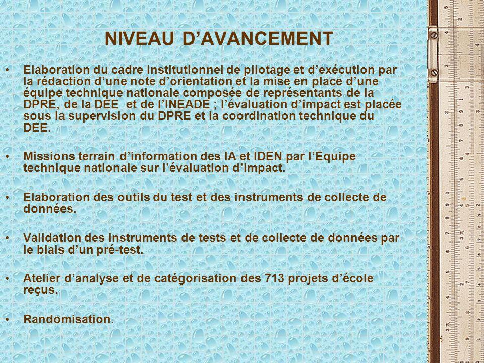 6 NIVEAU DAVANCEMENT Elaboration du cadre institutionnel de pilotage et dexécution par la rédaction dune note dorientation et la mise en place dune éq