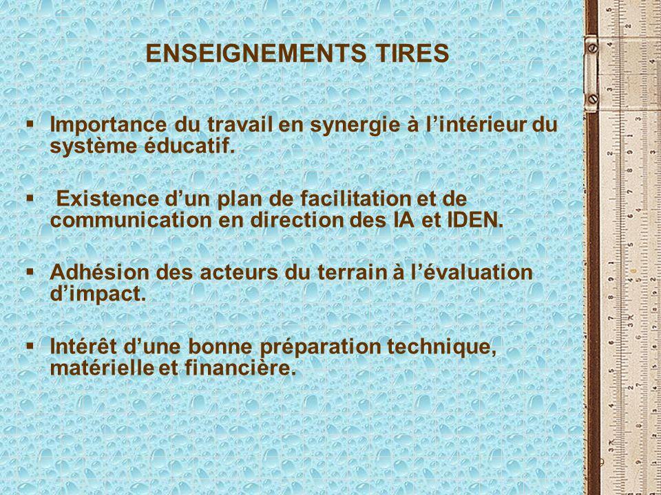 9 ENSEIGNEMENTS TIRES Importance du travail en synergie à lintérieur du système éducatif. Existence dun plan de facilitation et de communication en di