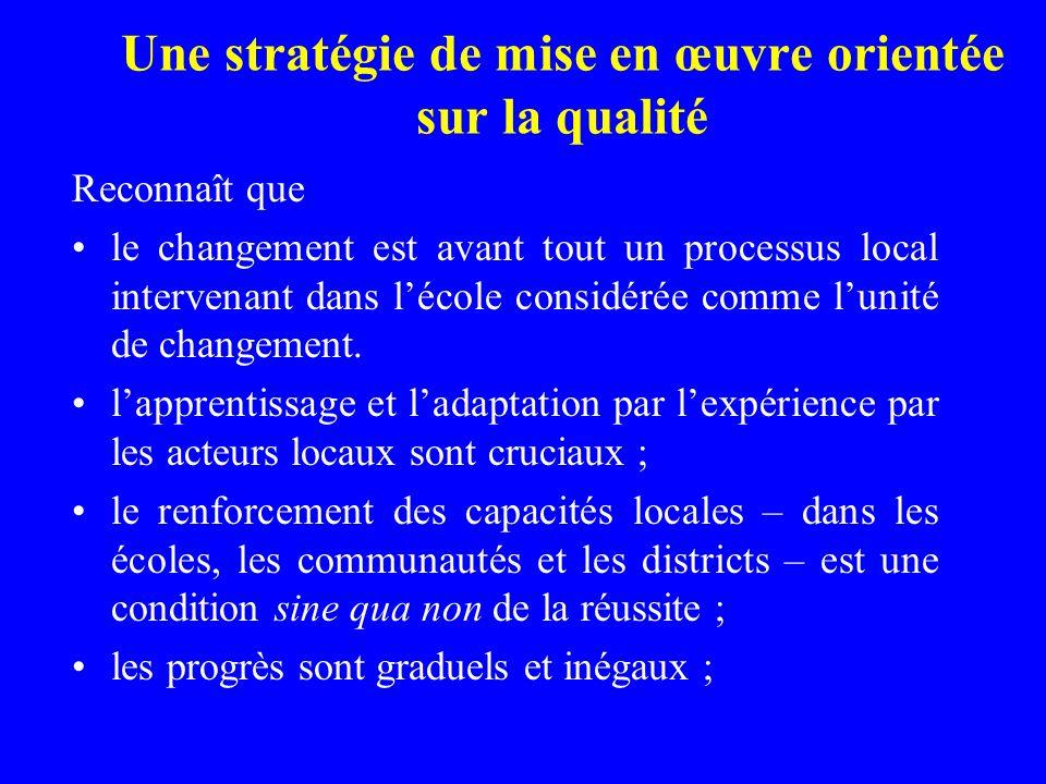 Une stratégie de mise en œuvre orientée sur la qualité Reconnaît que le changement est avant tout un processus local intervenant dans lécole considérée comme lunité de changement.