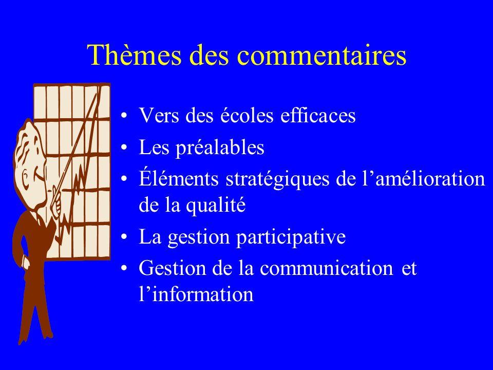 Thèmes des commentaires Vers des écoles efficaces Les préalables Éléments stratégiques de lamélioration de la qualité La gestion participative Gestion de la communication et linformation