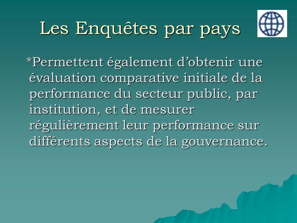 Les Enquêtes par pays *Permettent également dobtenir une évaluation comparative initiale de la performance du secteur public, par institution, et de mesurer régulièrement leur performance sur différents aspects de la gouvernance.