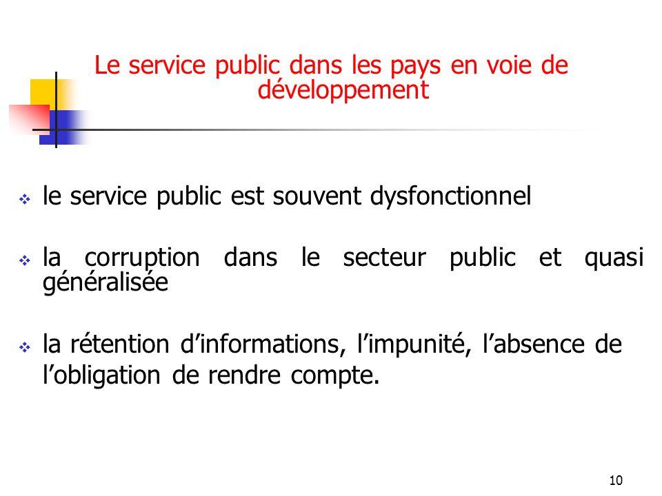 10 Le service public dans les pays en voie de développement le service public est souvent dysfonctionnel la corruption dans le secteur public et quasi généralisée la rétention dinformations, limpunité, labsence de lobligation de rendre compte.