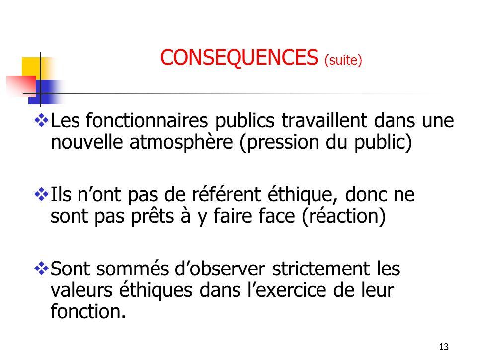 13 CONSEQUENCES (suite) Les fonctionnaires publics travaillent dans une nouvelle atmosphère (pression du public) Ils nont pas de référent éthique, don