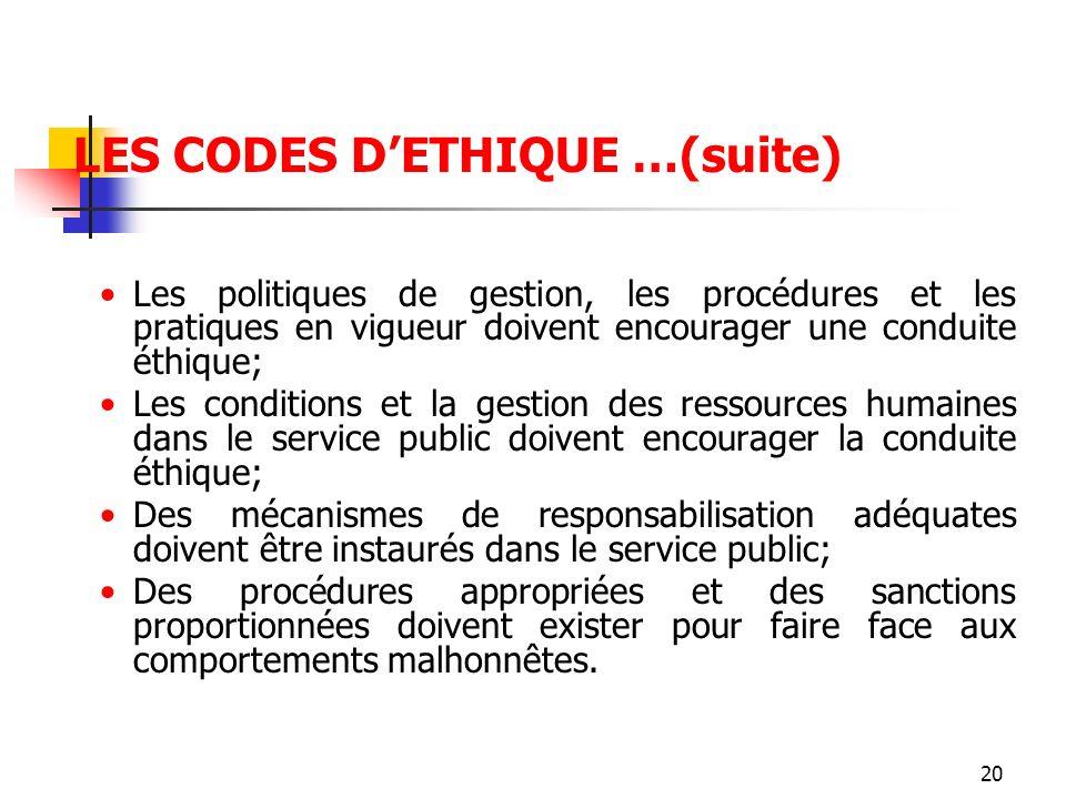 20 LES CODES DETHIQUE …(suite) Les politiques de gestion, les procédures et les pratiques en vigueur doivent encourager une conduite éthique; Les cond