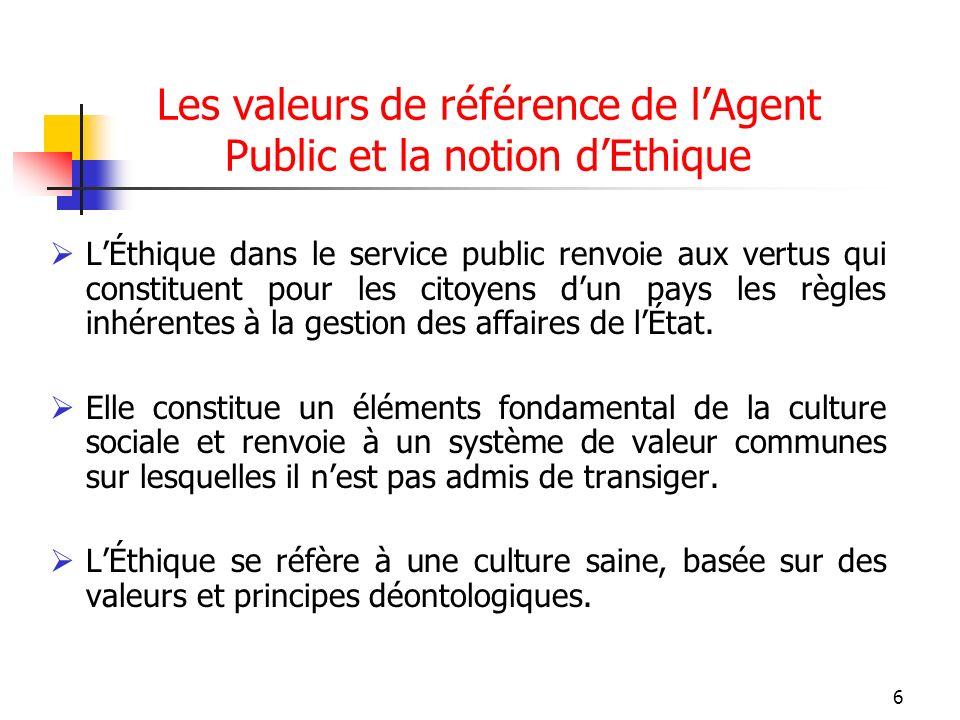 6 Les valeurs de référence de lAgent Public et la notion dEthique LÉthique dans le service public renvoie aux vertus qui constituent pour les citoyens dun pays les règles inhérentes à la gestion des affaires de lÉtat.